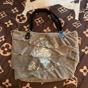 Juicy couture oversized grey ruffle Velour tote